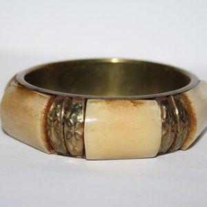 Vintage brass and bone bangle bracelet